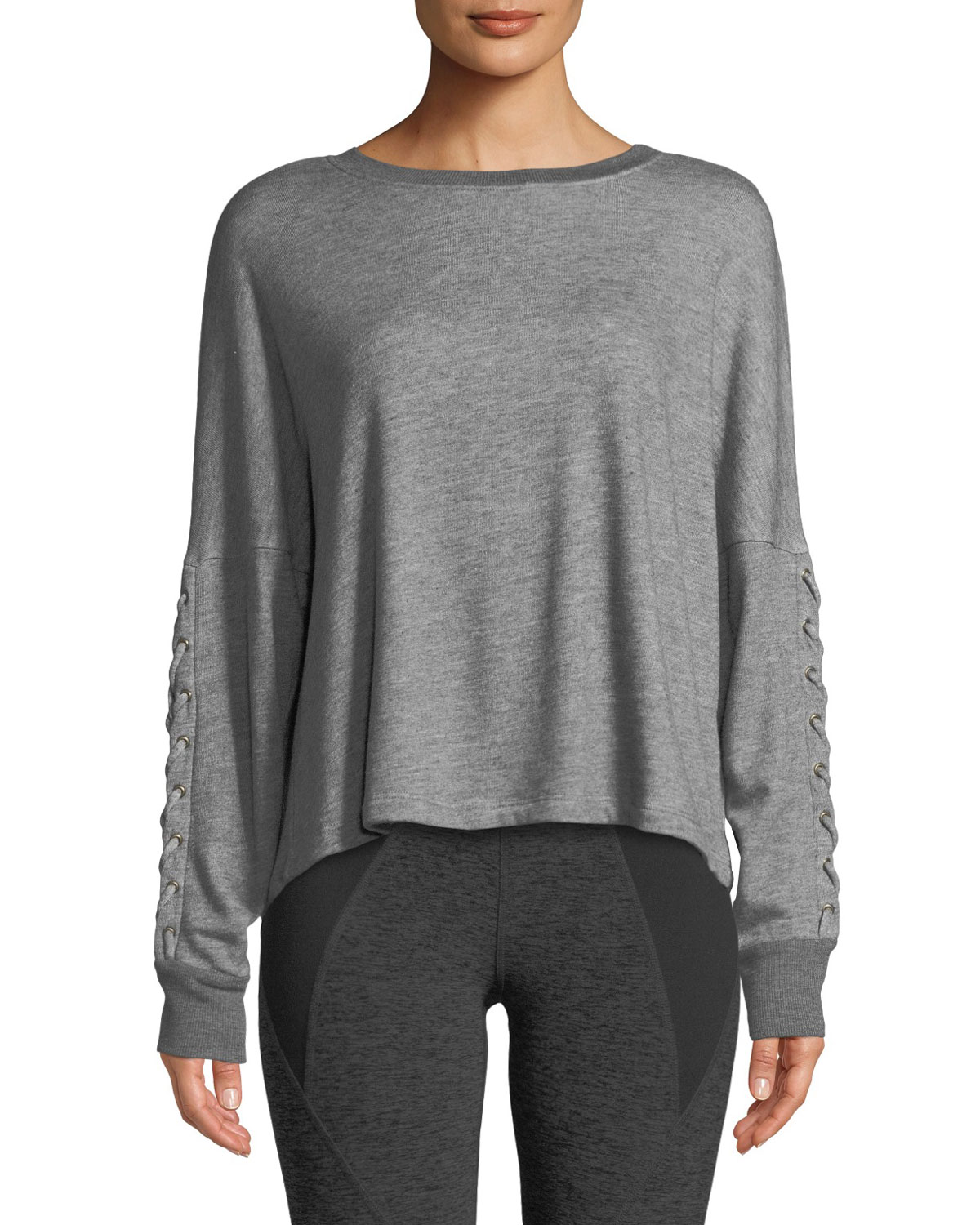 Lasso Lace-Up Draped Pullover Sweatshirt