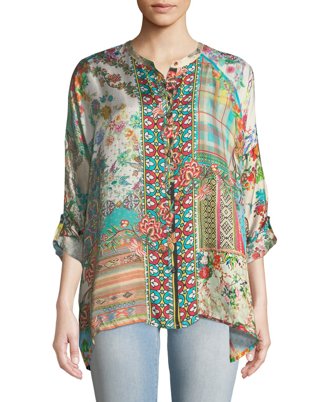 Resort Boxy Silk Button-Front Tunic, Plus Size