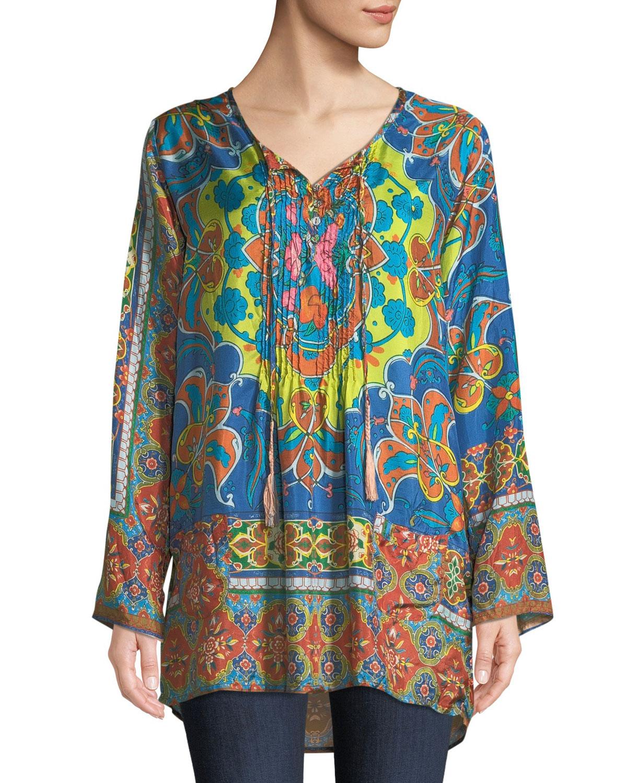 Valeni Tie-Neck Printed Silk Georgette Tunic
