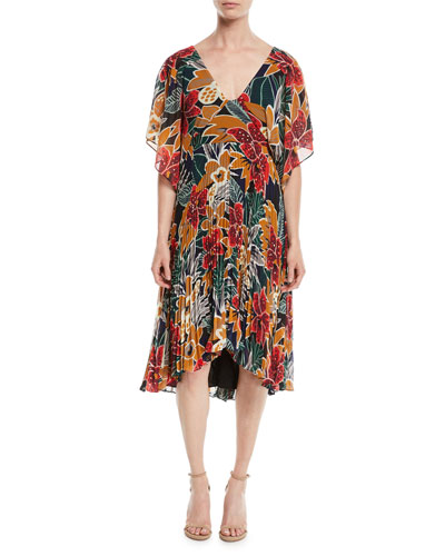 Zorbina Pleated Floral Midi Dress
