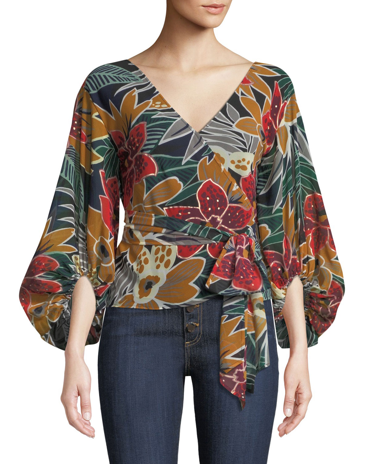 Riston Floral-Print Wrap Blouse