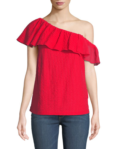 Lulapop Textured One-Shoulder Ruffle Top