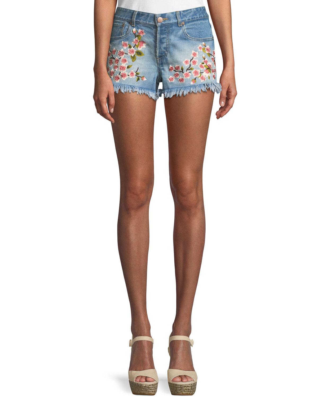 Amazing Embroidered Vintage-Inspired Denim Shorts