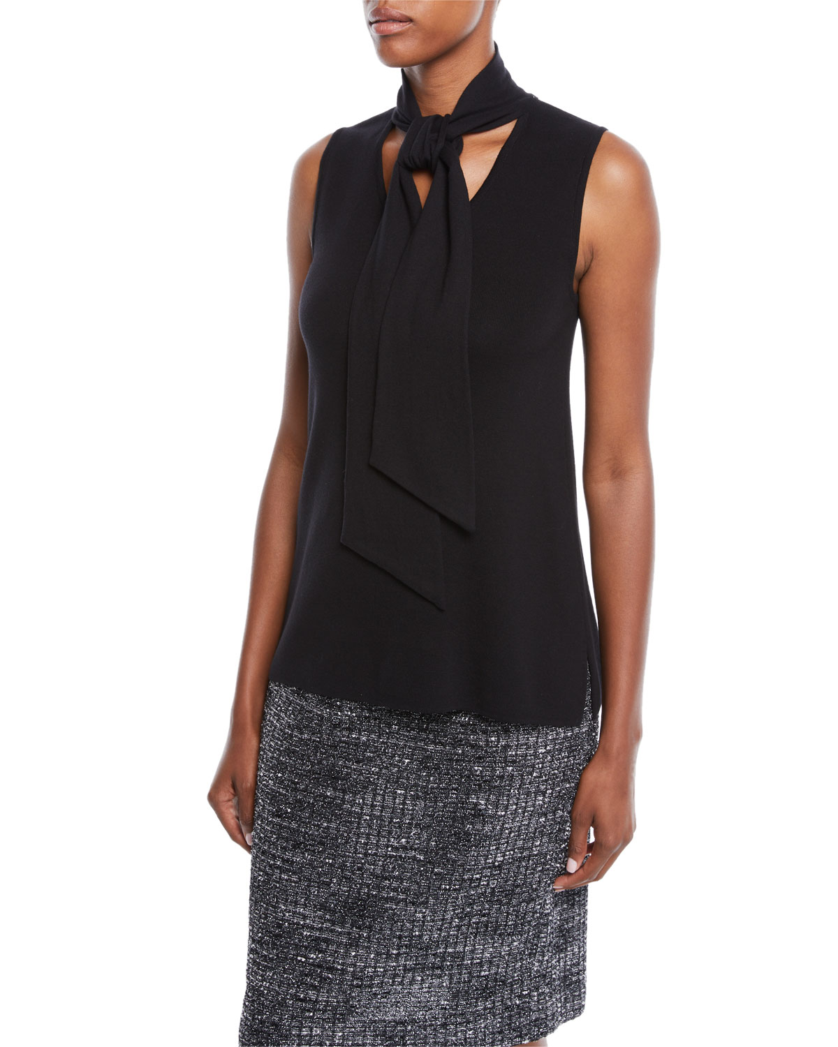 MISOOK SLEEVELESS KNIT TOP W/ TIE DETAIL, PETITE