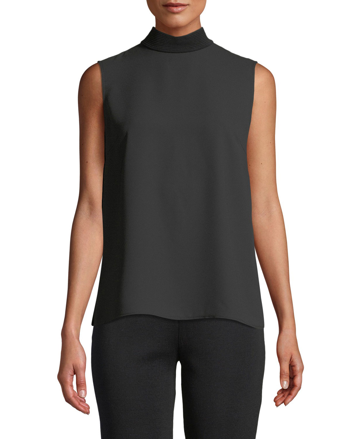 MISOOK Sleeveless Mock-Neck Knit Mix Top, Plus Size in Black