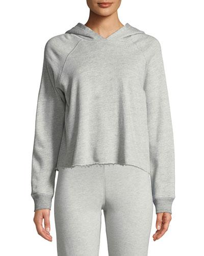 Cropped Raw-Hem Hooded Sweatshirt