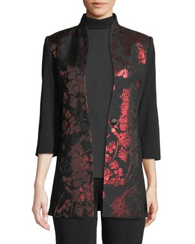 Petite Metallic Floral-Inset Jacket