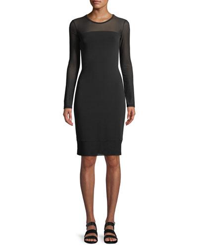 Long-Sleeve Mesh Bodycon Dress
