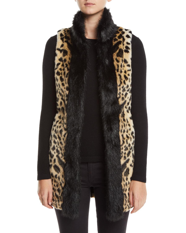 FABULOUS FURS Cheetah-Print Faux-Fur Stroller Vest in Leopard