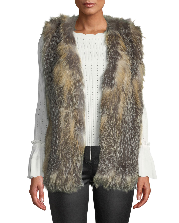LA FIORENTINA Mid Length Fur Vest in Natural Multi