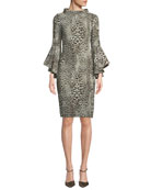 Badgley Mischka Collection Flair Leopard-Print Dress w/ Trumpet