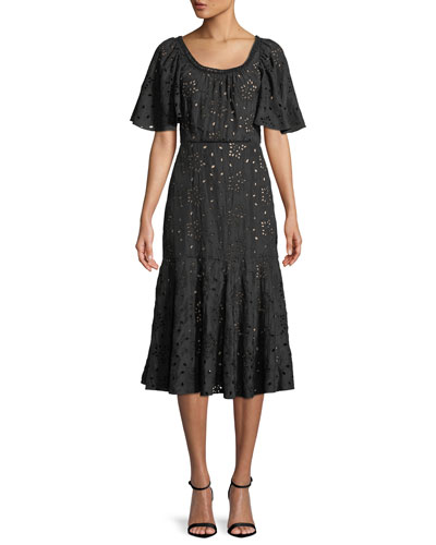 Sarah Scoop-Neck Short-Sleeve Eyelet Embroidered A-Line Midi Dress