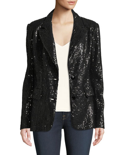 Plus Size Two-Button Notch-Lapel Sequined Blazer