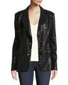 Berek Petite Two-Button Notch-Lapel Sequined Blazer