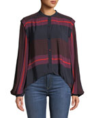 Joie Ishana Draped Button-Down Striped Top
