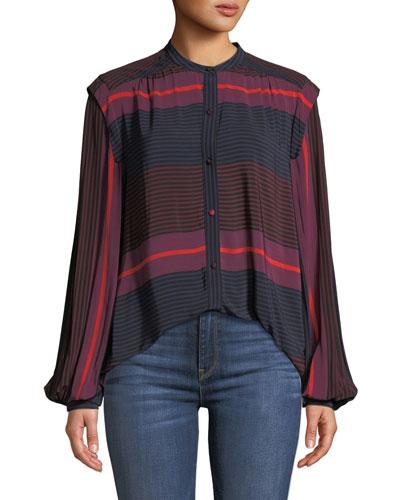 Ishana Draped Button-Down Striped Top