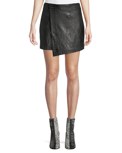 570a1043f Quick Look. Joie · Orlanda Draped Studded Lamb Leather Skirt