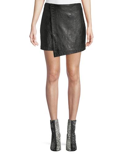 Orlanda Draped Studded Lamb Leather Skirt