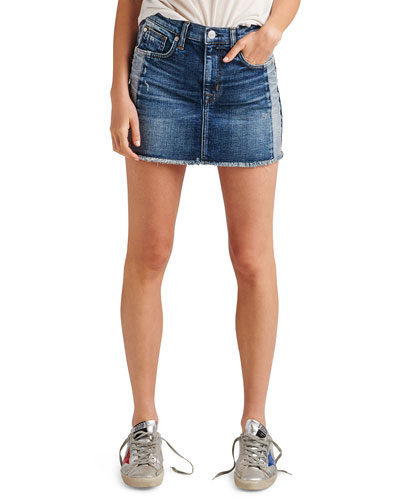 b4e1a9622dad Quick Look. Hudson · Viper Studded Raw-Edge Denim Mini Skirt
