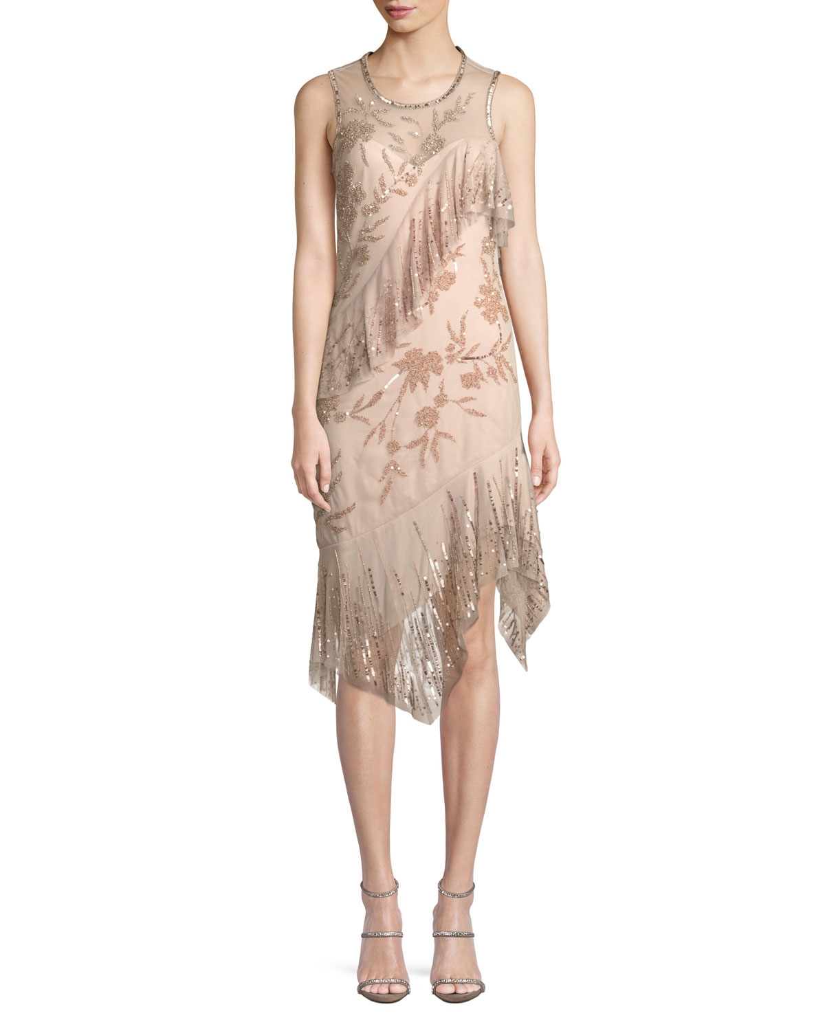 Florence Sleeveless Scoop-Neck A-Line Sequin Beaded Cocktail Dress