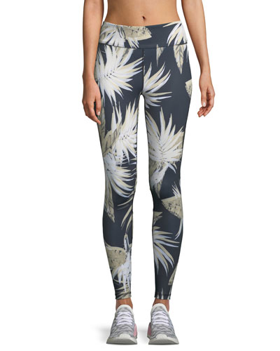 Captain Palm-Print Activewear Ankle Tight Leggings