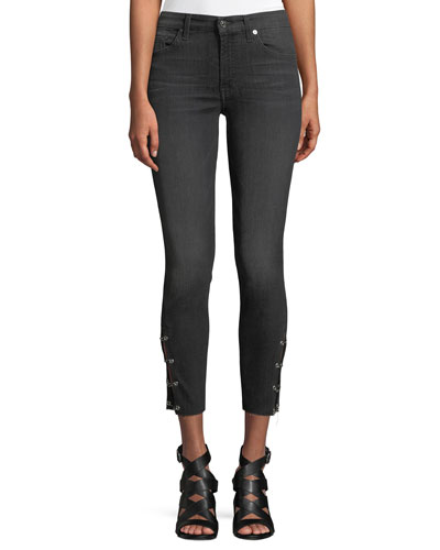 Cropped Grommet-Trim Ankle Skinny Jeans