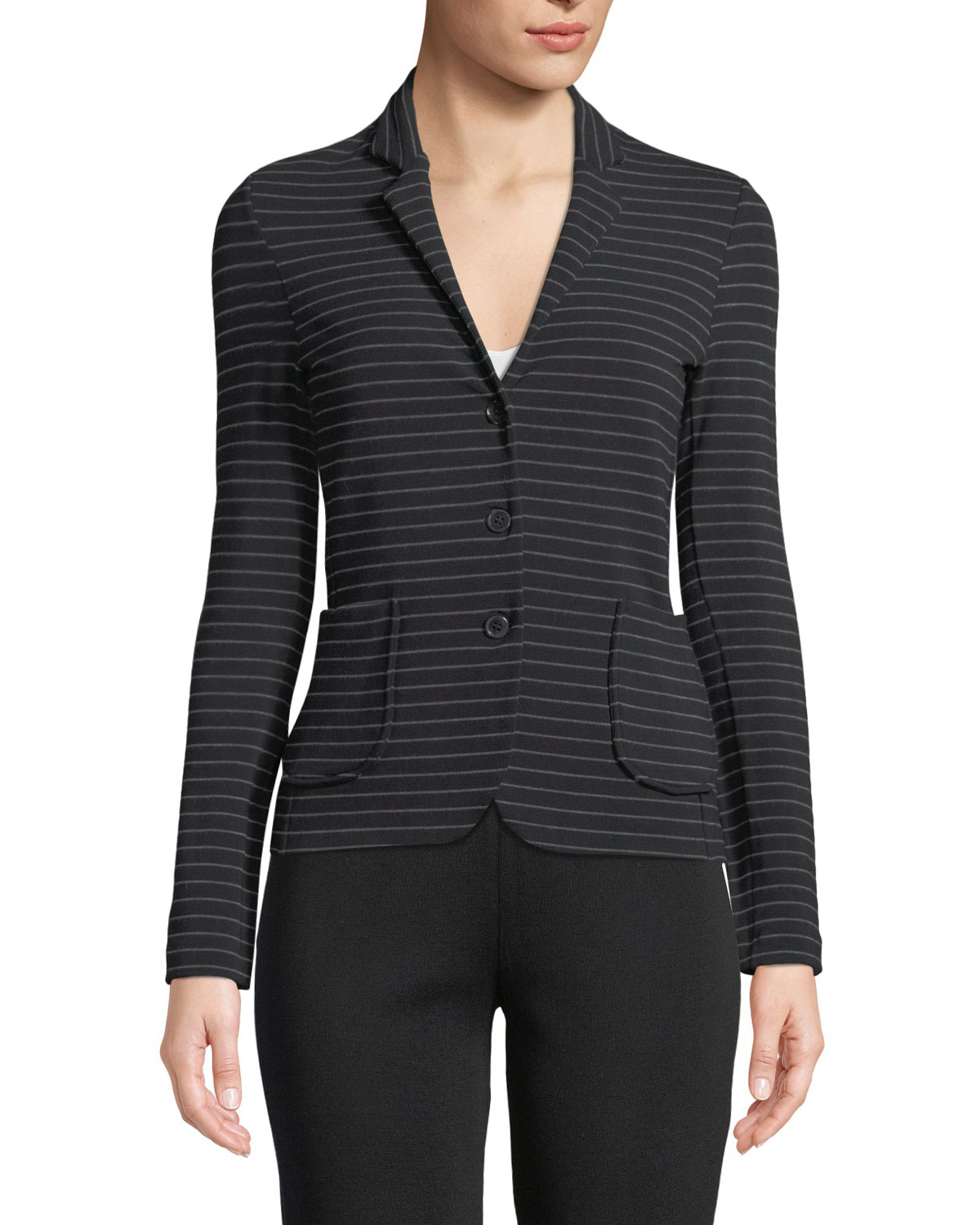 MAJESTIC Soft Touch Striped Single-Breasted Blazer in Noir Flannel