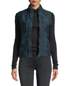 Majestic Paris for Neiman Marcus Quilted Camo-Print Vest