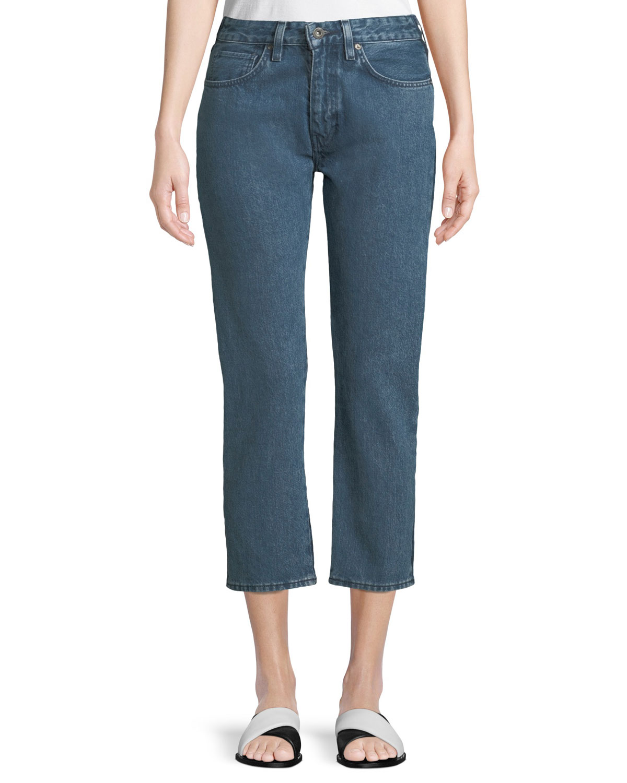 Slim Cropped Straight-Leg 2-Tone Jeans