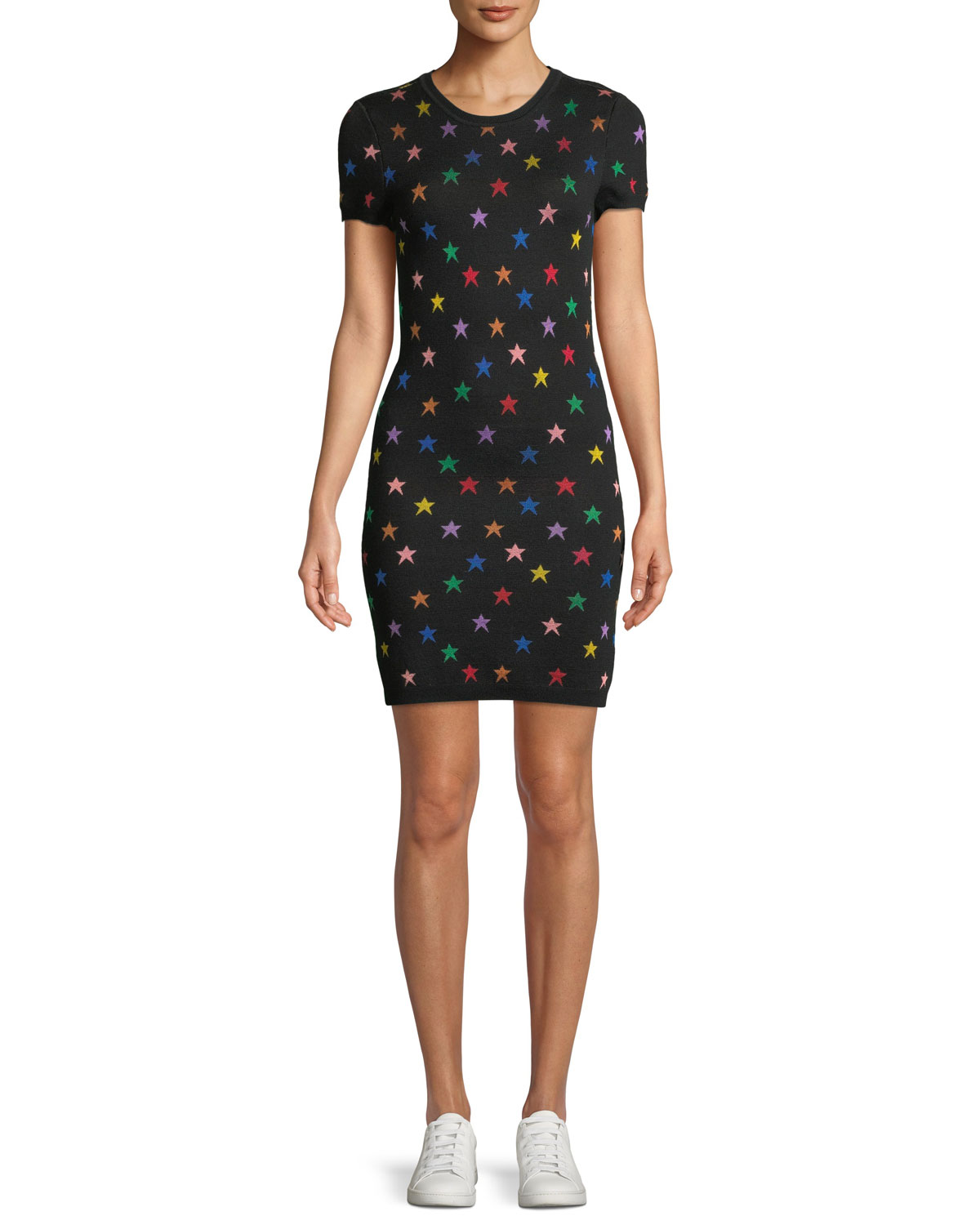 Hayden Short-Sleeve Fitted Star Jacquard Dress in Black/Multi