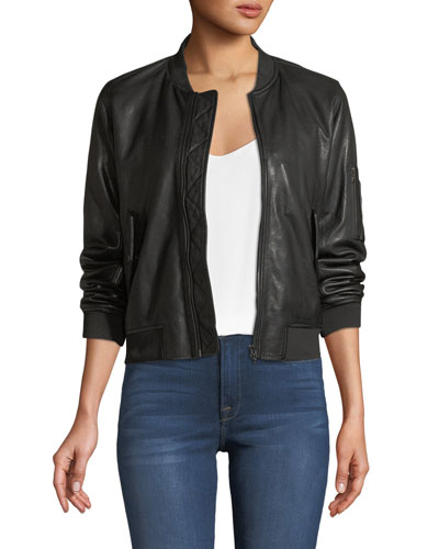 Zip-Front Leather Bomber Jacket
