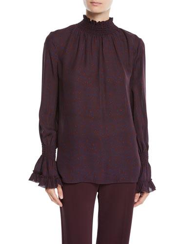 Colette Mock-Neck Blouse in Silk