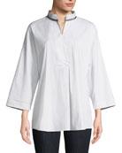 Lafayette 148 New York Dakota Mandarin-Collar Blouse