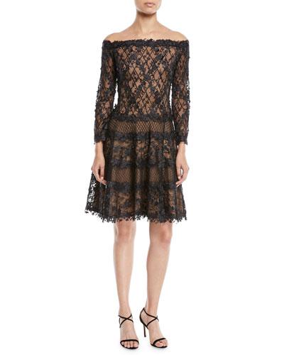 Off-the-Shoulder 3D Lace Dress