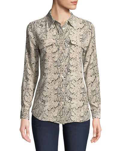 4f0f90682c57f3 Quick Look. Equipment · Slim Signature Python-Print Silk Button-Front Blouse