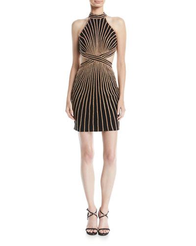 Striped Halter Dress w/ Cutouts