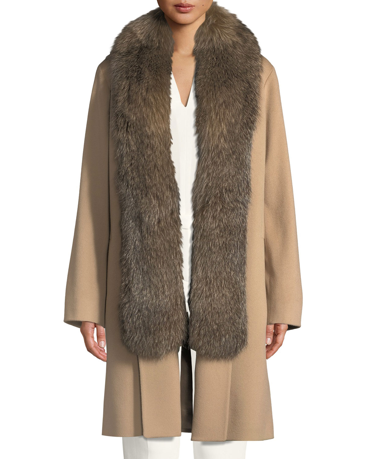FLEURETTE Wool Clutch Coat W/ Fox Fur Tuxedo in Brown