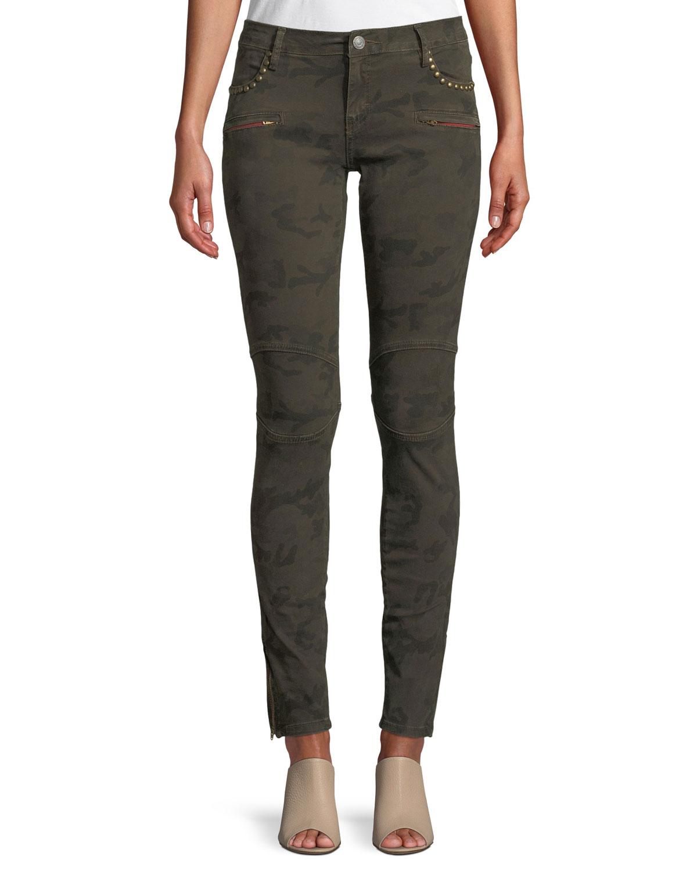 Studded Camo-Print Skinny Jeans w/ Zipper Cuffs
