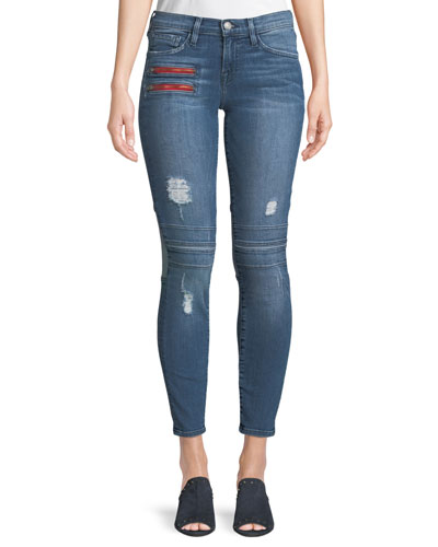 Two-Tone Frayed Skinny Jeans w/ Zippers