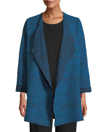 Free-Flowing Full-Sleeve Tweed Saturday Topper Jacket