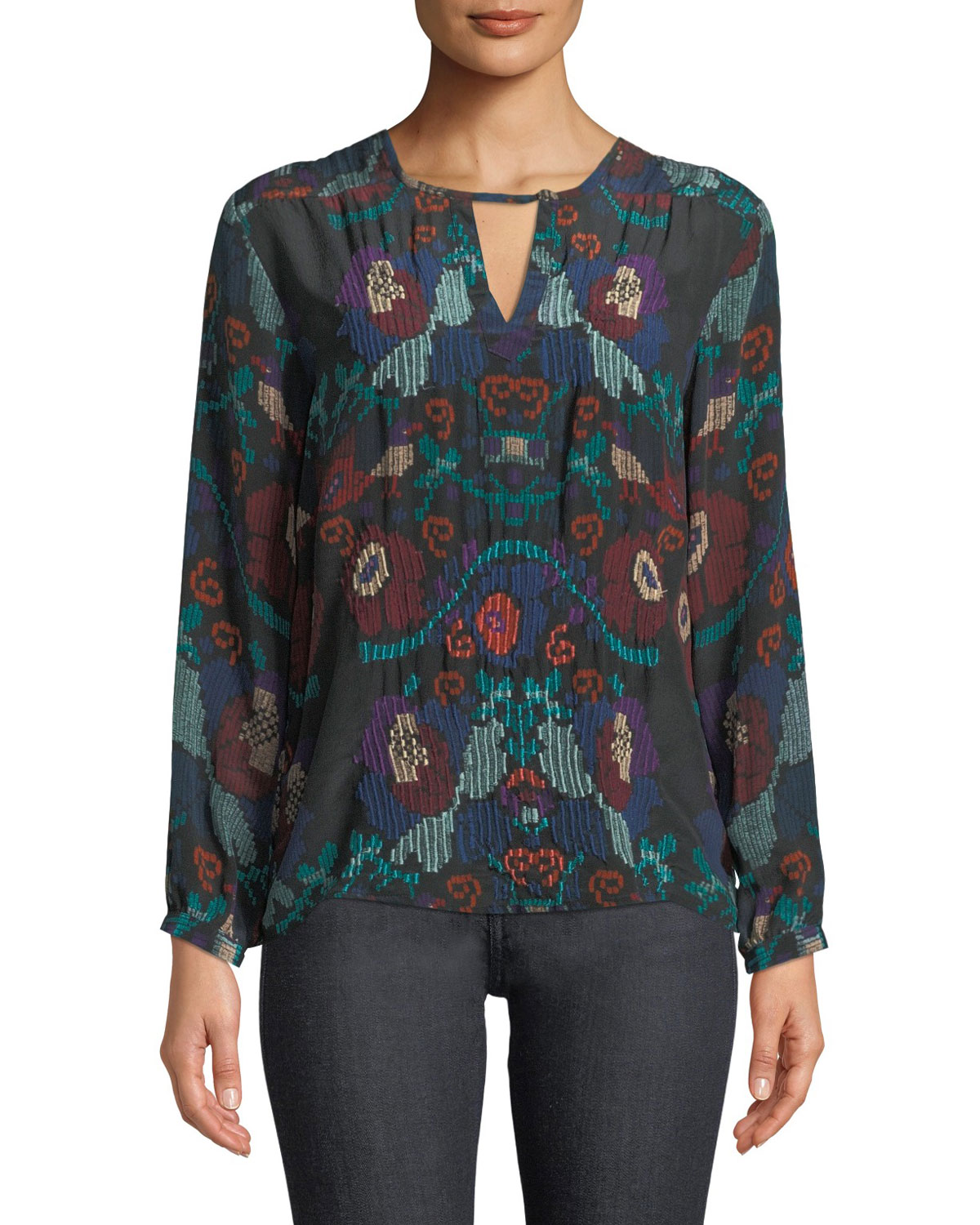 Caitlyn Long-Sleeve Multicolor Embroidered Blouse, Plus Size