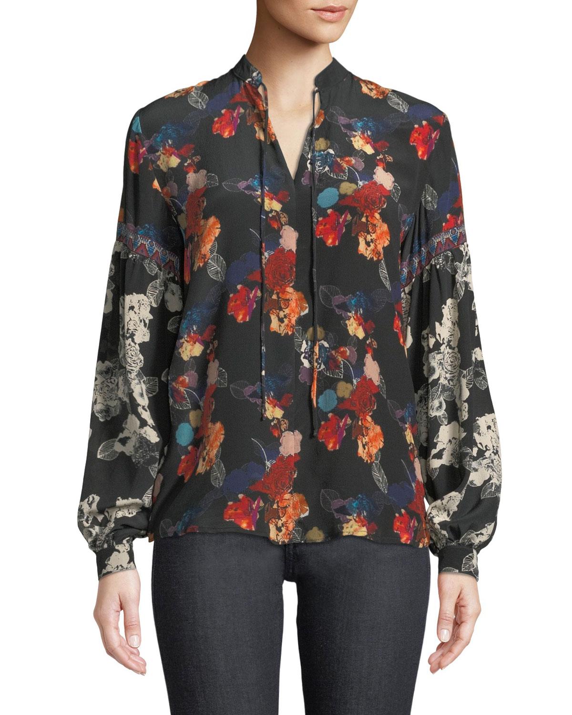TOLANI Swanna Mandarin-Neck Mixed Floral-Print Silk Blouse in Rosette