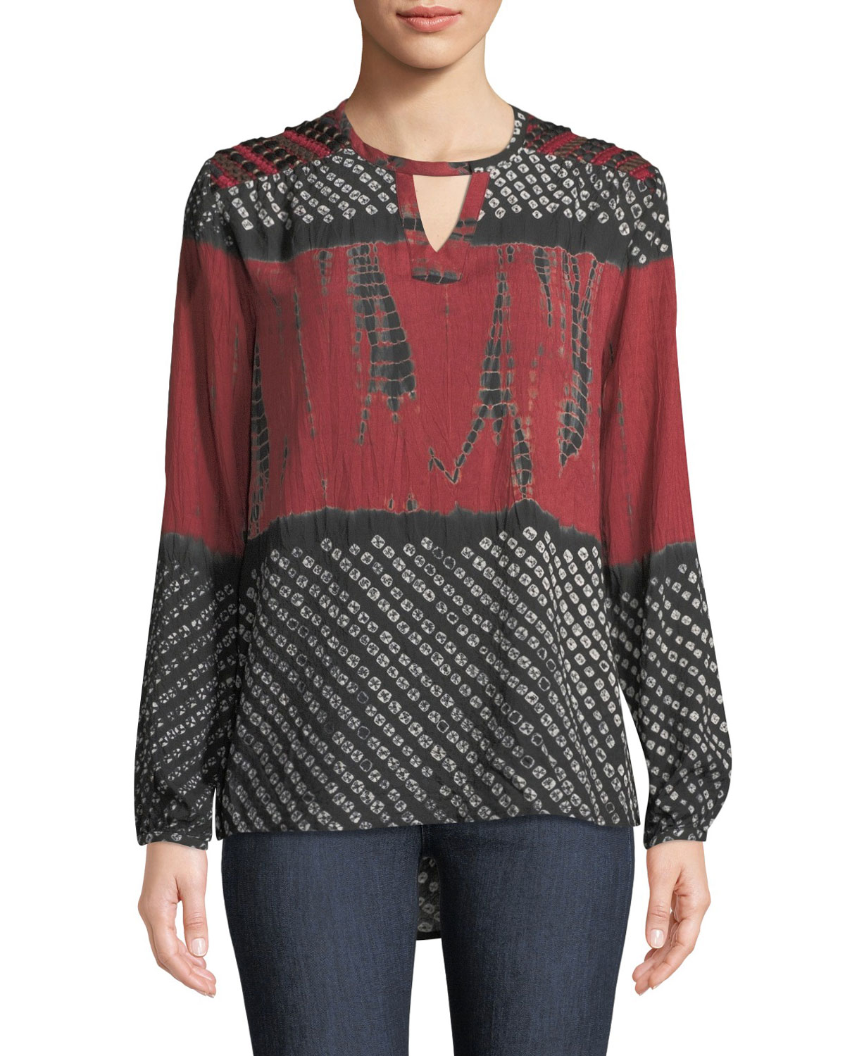 TOLANI Caitlyn Long-Sleeve Tie-Dye Print Blouse W/ Embroidered Detail, Plus Size in Crimson
