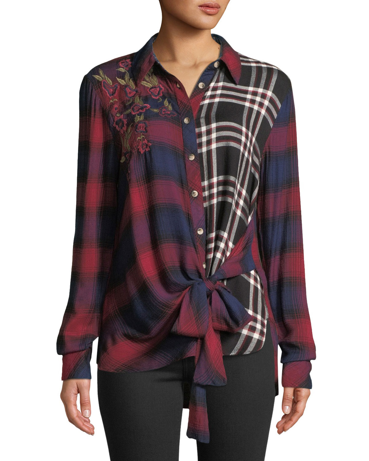 TOLANI CAREY BUTTON-FRONT LONG-SLEEVE TIE-FRONT MIXED-PLAID BLOUSE W/ FLORAL-EMBROIDERY, PLUS SIZE