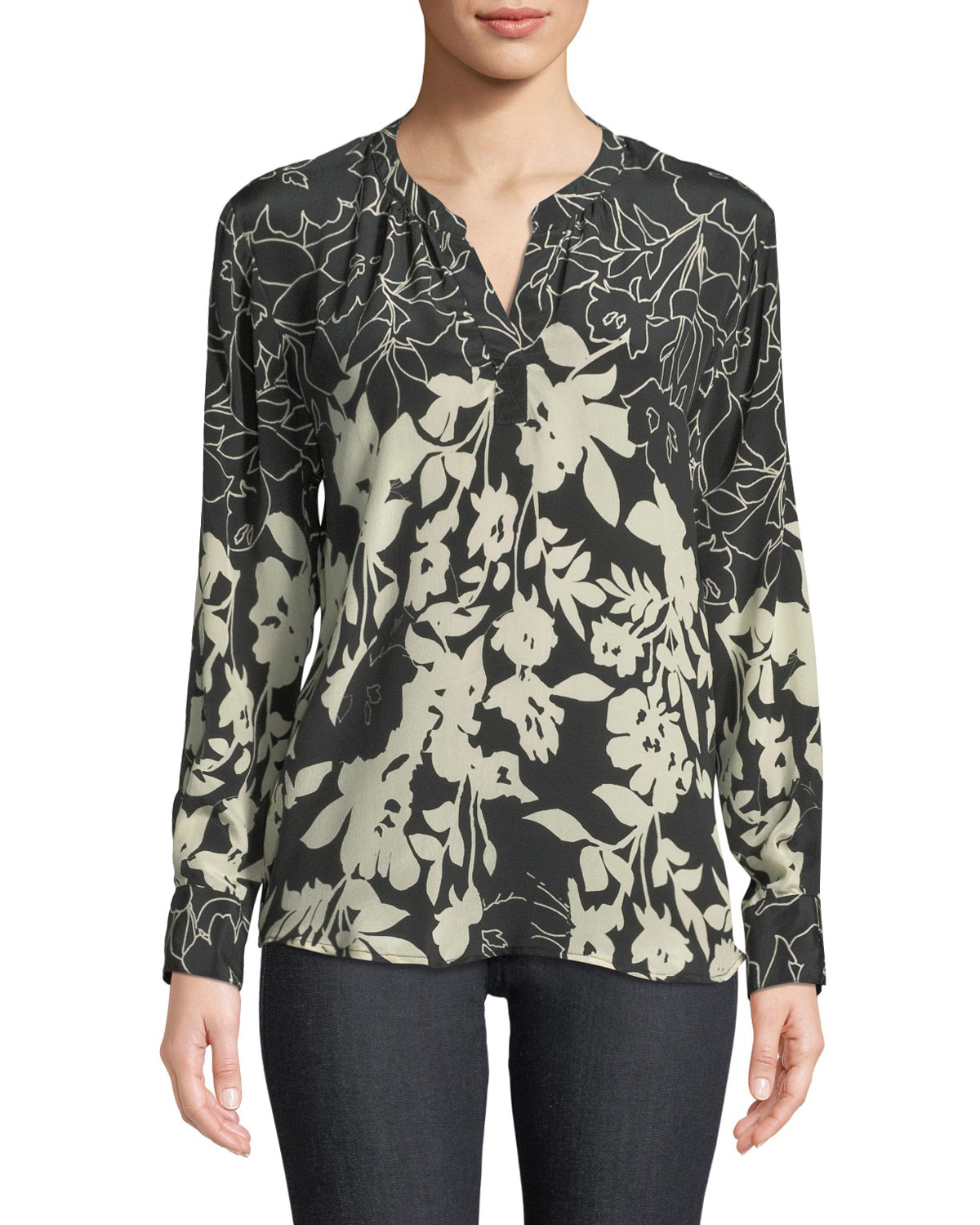 TOLANI Everly Long-Sleeve Floral-Print Silk Blouse, Plus Size in Ebony