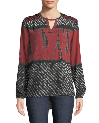 95ff6c2a41f726 Quick Look. Tolani · Caitlyn Long-Sleeve Tie-Dye Print Blouse ...