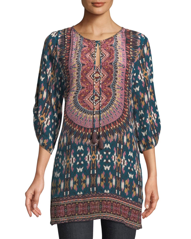 TOLANI Krisanne Tassel-Neck Ruched-Sleeve Batik-Print Silk Tunic, Plus Size in Blue
