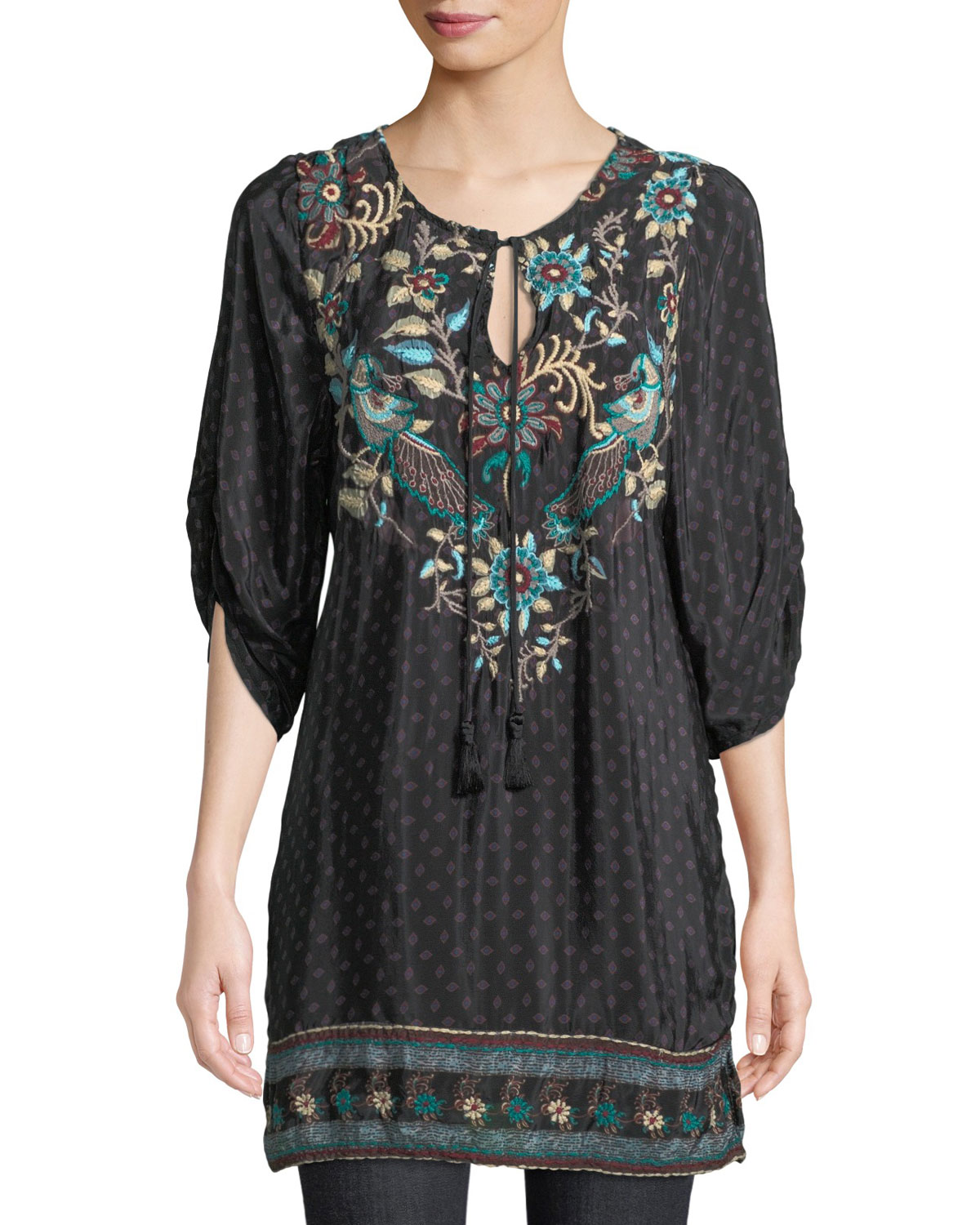 Nicoli Tassel-Tie Ruched-Sleeve Printed Floral-Embroidered Tunic Dress