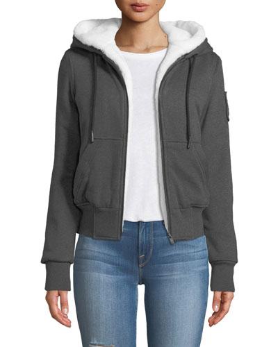 Her Bunny Hoodie Sweatshirt w/ Hood & Faux Fur