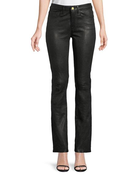 FRAME Le Mini Boot-Cut Leather Pants